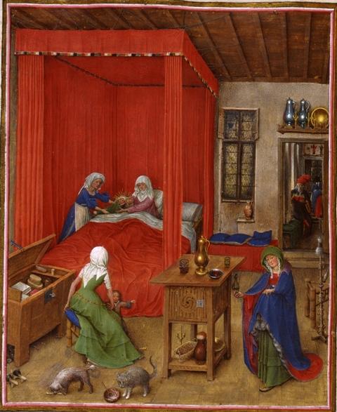 Jan van Eyck, De geboorte van Johannes de Doper, Turijns-Milanese getijdenboek, fol. 93v, Turijn, Palazzo Madama, Museo Civico.
