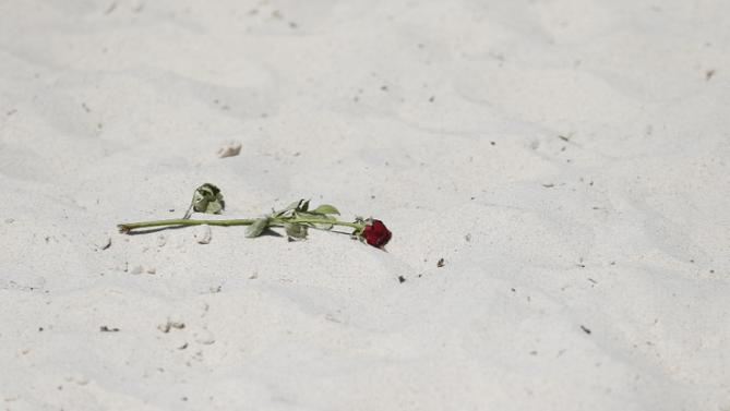 A flower lays on a beach was the site of a shooting attack in Sousse, Tunisia, Saturday, June 27, 2015. The morning after a lone gunman killed dozens of people at a beach resort in Tunisia, busloads of tourists are heading to the nearby Enfidha-Hammamet airport hoping to return to their home countries. (AP Photo/Darko Vojinovic)