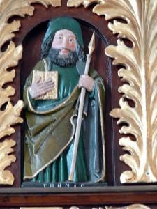 Pfarrkirche Neufelden. Apostelgalerie: Relief des heiligen Thomas ( 1500 )